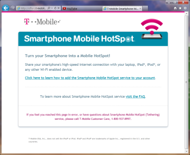IE screenshot showing T-Mobile man-in-the-middle