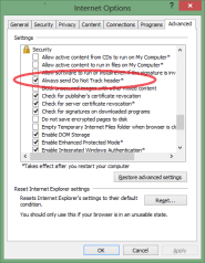 Advanced settings dialog, with DNT checkbox
