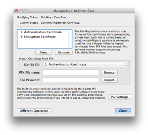 UI for managing certificates