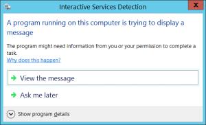 Interactive services detection dialog on main desktop