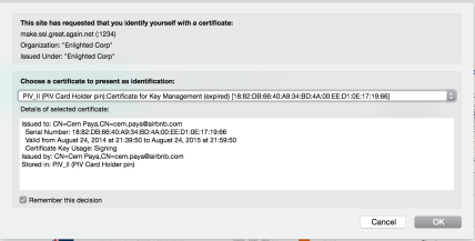 Firefox certificate authentication prompt